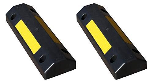 2 Topes de ruedas plástico para rueda de coche, estacionar en estacionamientos comerciales y domésticos y garajes privados, de color negro, dimensiones 50x16x8 cm