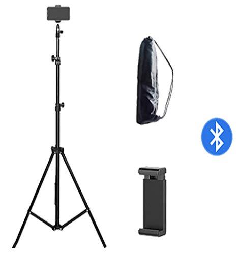 FSRMLB Mobiele telefoon live stand statief foto statief verlichting buiten plat draagframe draagbare vloer multifunctionele beugel 1.6m afstandsbediening set Black-9