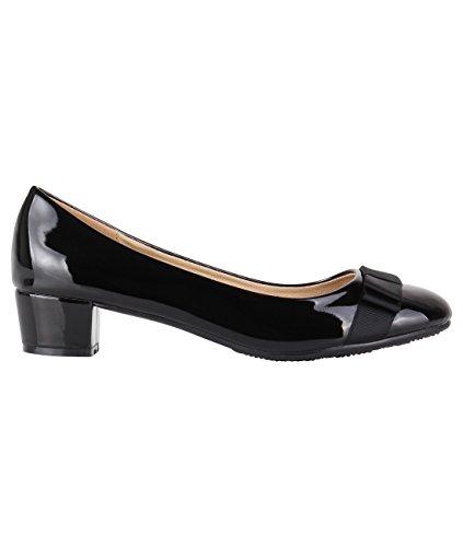 Scarpe da donna con tacco basso, décolleté con tacco largo, Nero (Punta tonda nera...