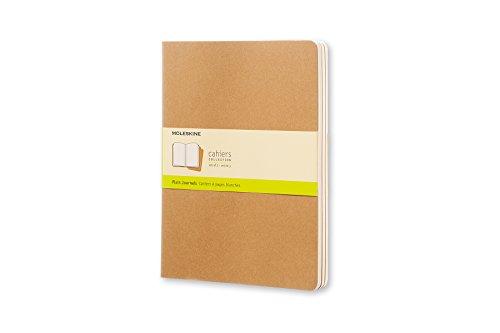 Moleskine Cahier Journal (juego de 3 cuadernos con páginas en blanco, cubierta de cartón y bordado de algodón, grande 13 x 21 cm, 80 páginas), Marrón (Kraft)