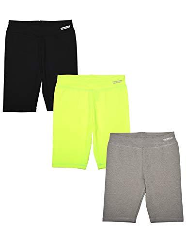 Hind - Pack de 3 pantalones cortos deportivos para niñas, pantalones cortos de bicicleta, ropa de entrenamiento para niñas