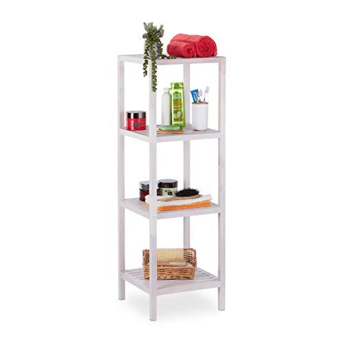 Relaxdays Badregal Walnuss, 4 Ablagen, offen, quadratisch, Badezimmer Regal Holz, HBT 112 x 36 x 36 cm, Standregal, weiß