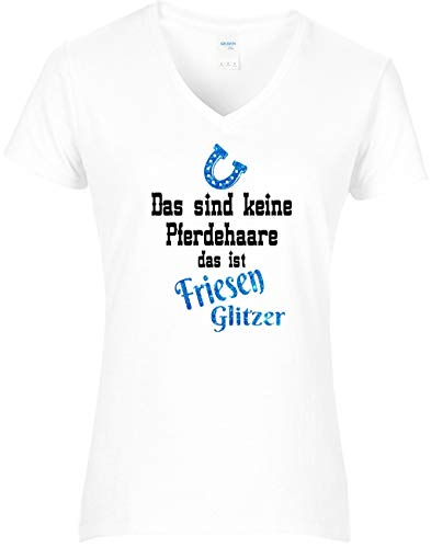BlingelingShirts Fun Shirt paard dames Dat zijn geen paardenharen dat is Fries glitter paarden shirt