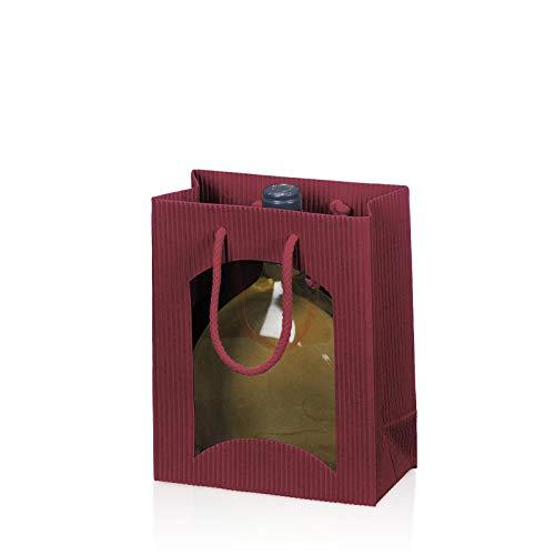 Tragetüte Midi Welle mit Fenster bordeaux für Bocksbeutel; Maße: 170 x 85 x 200 mm; VE: 20 Stk.