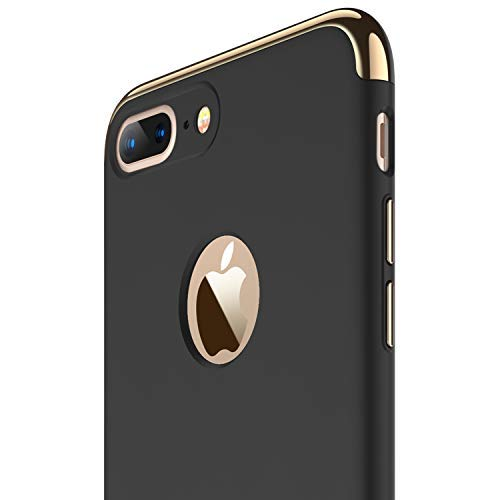 RANVOO iPhone 7 Plus Case, Slim Fit Thin Hard Stylish Cover 3 in 1 Detachable Case, Black [Clip-ON Series]