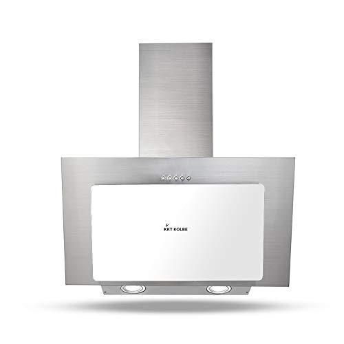 KKT KOLBE Campana extractora de pared / 60 cm/acero inoxidable/cristal blanco/iluminación LED / 3 niveles/pulsadores / BASE604WED