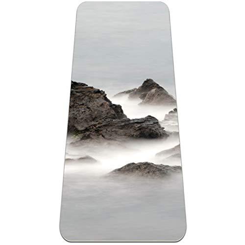 Peak Clouds Sea - Esterilla de yoga gruesa antideslizante para mujeres y niñas yoga   Pilates   Ejercicios de suelo (72 x 24 pulgadas, 1/4 pulgadas de grosor)