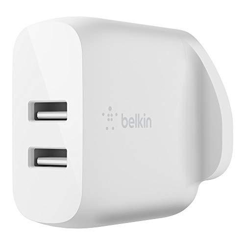 Belkin Boost Charge Dual USB-A Cargador de Pared 24 W (para iPhone 12, 12 Pro, 12 Pro MAX, 12 Mini y Modelos anteriores, Samsung S20, S20+, S20 Ultra, Pixel 4, más)