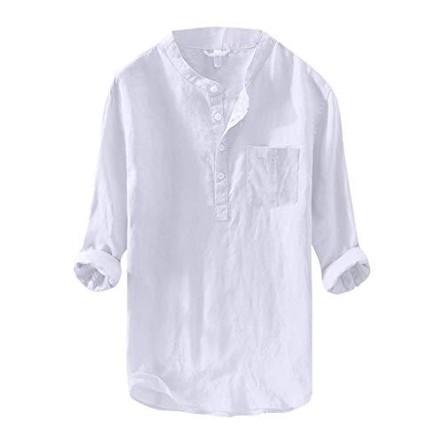 Tee-Shirt en Lin pour Hommes Travail Confort Décontracté Lâche Respirant Chemise A Col en V Mince Bouton De Couleur Unie Tops