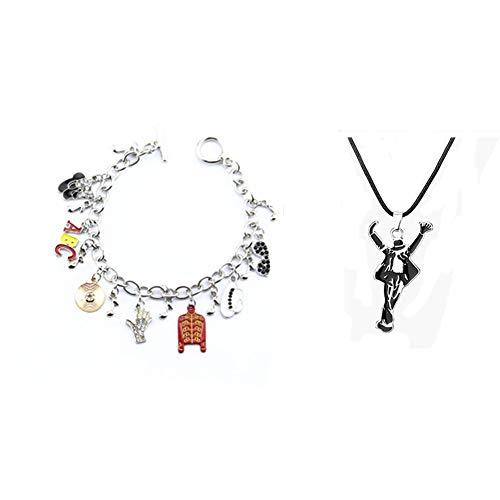 Armband und Halskette for fans of Michael Jackson Handmade Alloy Armband und Halskette+Geschenkbox Unisex Schmuck für Valentinstag, Konzert Dekorationen Geburtstag Sgeschenk(Armband+Halskette)