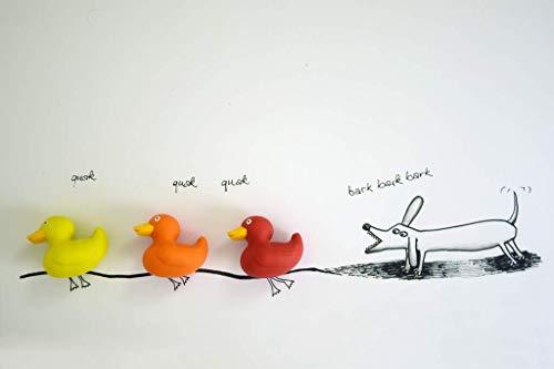 Coole schöne Postkarte meiner Foto-Kunst | Kleiner Dackel-Hund jagt Enten und bellt