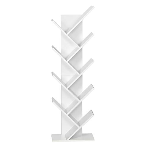 Meerveil Estantería de Madera en Forma de Árbol,Exquisito Estante para CD de 9 Capas,Revistero, Diseño Simple, Ahorro de Espacio, Blanco