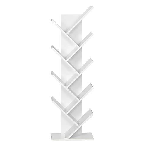 Meerveil Bücherregal in Baumform aus Holz, exquisites 9 lagiges Aufbewahrungsregal für CDs, Regal für Magazine, einfaches Design und Platzsparen, Elegantes Weiß