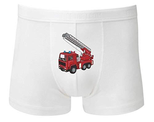 Boxershort - Feuerwehrwagen Drehleiter Cartoon Horn - Unterhose für Herren und Männer