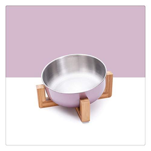 NYKK Edelstahl Katze Hundeschüssel mit Holzständer Haustier Lebensmittel und Wasserschüssel für Katze Hunde Lebensmittel Fütterung Feeder Welpenzufuhr liefert (Farbe: Gold A) lalay (Color : Purple B)