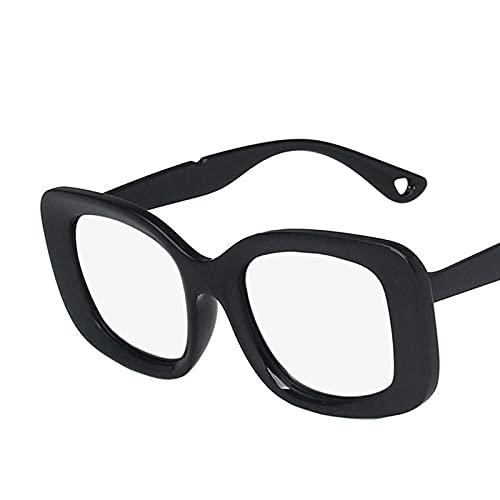 DLSM Gafas de Sol Gafas de Sol de Mujer Cuadrada Gafas de Sol Grandes Marco de Sol Gafas para Hombres Hombres Retro Apto para Playa y Senderismo Gafas de Sol-Plata Negra