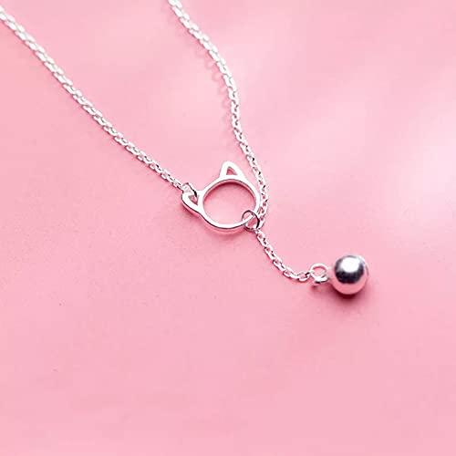 RTEAQ Schönes Halsketten SchmuckSilberne Farbe Nette Hohle Katzenglocke-Charme-Halsketten für Frauen-Damen-einfache hängende Mode-Halskette Geburtstag Party Geschenk