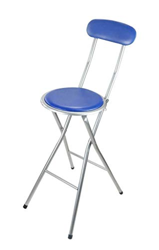 Breakfast Bar Stool Folding Foldable Padded Chair Seat Garden Party Office Event - Bar Stool - Blue