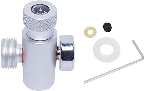 Poweka CO2 - Adaptador de cilindro de llenado del regulador de gas, conector para SodaStream, color plateado con metro