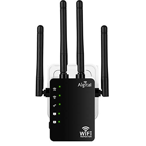 1200Mbps Repetidor de WiFi para casa Largo Alcance, Extensor de Red WiFi de Doble Banda 2.4GHz y 5GHz, 4 Antenas Externas, 2 Puerto Ethernet LAN, Compatible con Router de Fibra Amplificador Wi