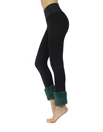 CALZITALY Leggings Push Up, Leggings Moldeadores, Leggings Con Borde De Pelo | Negro/Granat, Negro/Verde | S, M, L, XL | Made In Italy