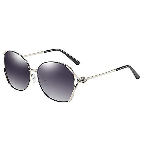 NgMik Gafas De Sol Polarizadas Damas Metal Gafas De Sol Polarizadas Anti-UV Antideslumbrantes Gafas De Sol Polarizadas De Conducción Clásico (Color : Black, Size : One Size)