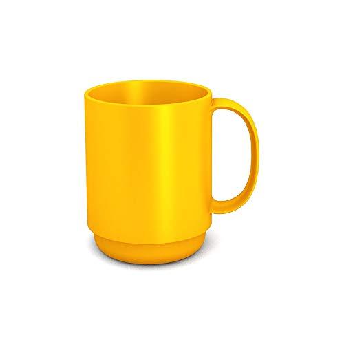 Ornamin Becher mit Henkel 300 ml gelb (Modell 510) / Mehrweg-Becher Kunststoff, Kaffeebecher