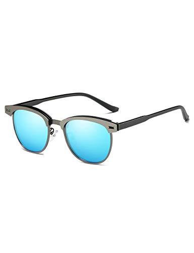 Rocf Rossini Halbrandlose Polarisierte Sonnenbrille für Männer Klassische Metall Retro Polarisierte Frauen Sonnenbrille UV400 (Blau)