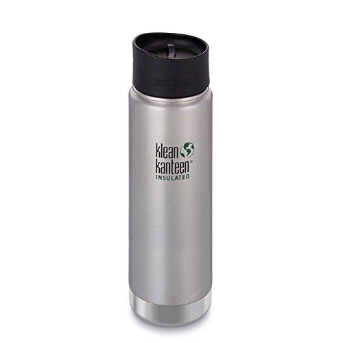 Klean Kanteen Edelstahlflasche mit Cafe Verschluss 592 ml Vakuum Insulated Wide 592ml, Brushed Stainless