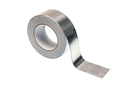 Gocableties - Cinta adhesiva de aluminio (50 m x 48 mm, alta calidad, resistente), plateado