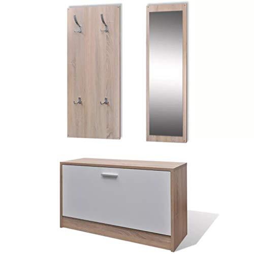 Cikonielf 3 in 1 Set di scarpiera in legno, armadio ausiliare scarpiera, appendiabiti da parete, specchio con cornice in legno