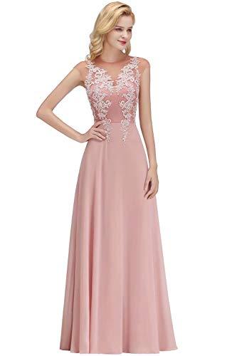 Babyonlinedress® Damen Lang Masche Chiffon Tüll Brautjunferkleider Abendkleid Ballkleider Empire Kleider 38