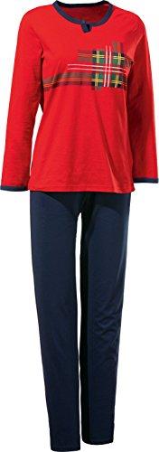 Erwin Müller Damen-Schlafanzug, Pyjama Single-Jersey Schotten-karo rot, Größe 38-100% Baumwolle, legere Passform, abgesteppter Gummibund