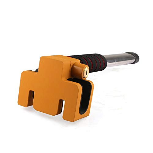 ZK Car Steering Wheel Anti-Theft Lock, Handlebar Lock, Car All Metal T-Lock,Car Lock,Heavy Duty Safety Hammer, Emergency Hammer Window Breaker (Color : Yellow)