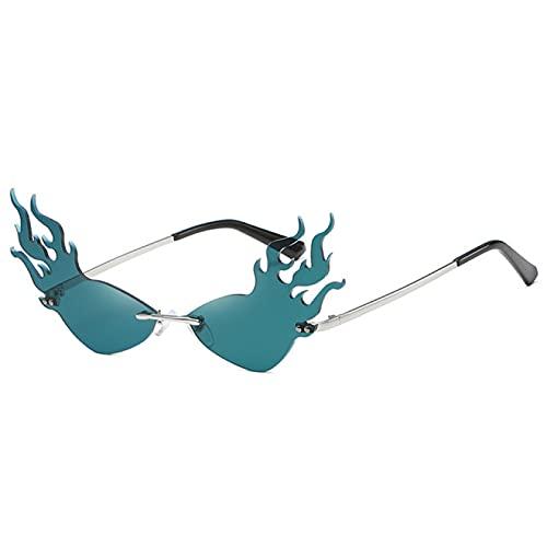 WOJING Llama de Fuego Gafas de Sol sin Montura Mujeres Hombres Gato Ojo Gafas de Sol Eyewear de Moda único UV400 Oculos de Sol