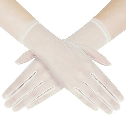 Coucoland - Guantes de novia de malla con encaje, largo/cortos, con perlas, para bodas, fiestas de noche, accesorios Color blanco corto. Talla única