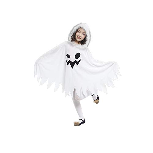 Cómoda Capa De Halloween para Niños De Moda Capa Larga con Patrón De Fantasmas Blancos Divertidos con Sombrero Disfraz De Cosplay Jardín Cocina Casera,S-95-105cm
