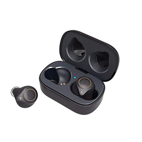 Auriculares Deportivos Bluetooth 5.0 con Funda, inalámbricos, con cancelación de Ruido, inalámbricos, Bluetooth Sport HD, IPX5 Mini Negro