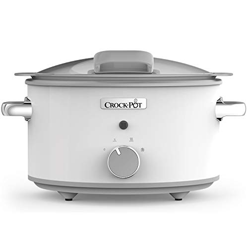 Crock-Pot DuraCeramic CSC038X Olla de cocción lenta manual 4,5 l, 4.5 litros, Acero Inoxidable, Blanco