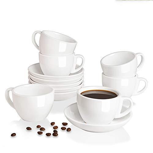 SWEEJAR Juego de tazas y platillos de cerámica para capuchino de 198 ml (6 unidades), tazas de espresso para café, café, café y café