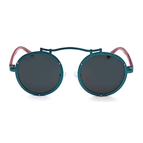 MGWA Gafas de sol Personality Round Large Frame Deportes al aire libre Conducción Gafas de sol Protección UV400 Unisex Negro Gris Lente (Color: Verde)