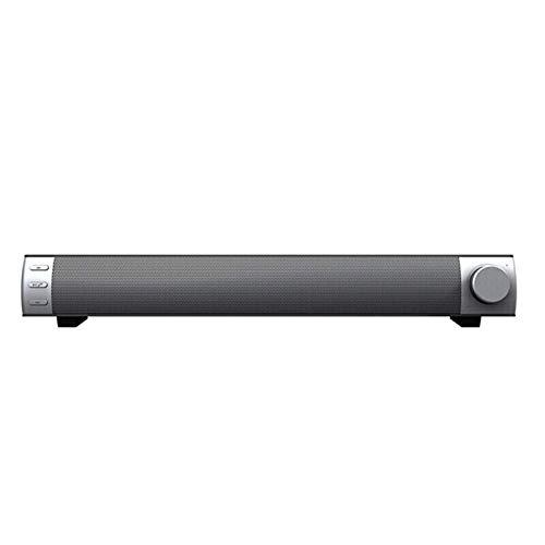 Barra De Sonido Inalámbrica con Subwoofer Bluetooth Altavoz TV Portátil PC Emparejamiento Estéreo Inalámbrico (Size:16.5'x2.4'x2.4'; Color:Silver Grey)