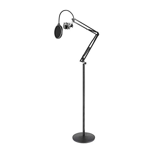 Pyle Microphone Boom Suspension Stand - Scissor Spring Arm Floor Mic Stand with Shock Mount & Pop Filter (PMKSH28),Black