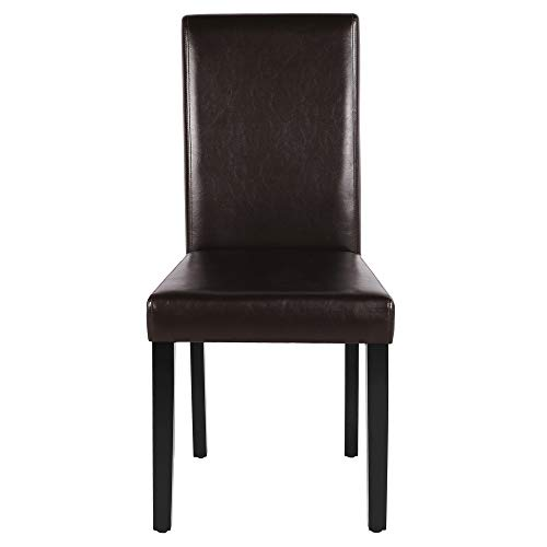 Yaheetech Brown 4pcs Dining Chairs PU Leather Modern Side Chair Durable Kitchen Chair Wooden Accent Chair for Office Lounge Home Dining Room Furniture