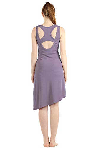 icyzone Casual Long Dress for Women - Open Back Sleeveless Ribbed Knit High Low Summer Dresses (L, Lavender)