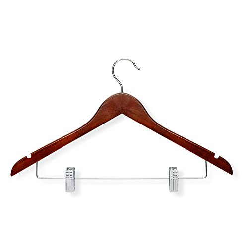 Honey-Can-Do HNGT01210 12-Pack Basic Suit Hanger with Clips, ch, 12, Cherry