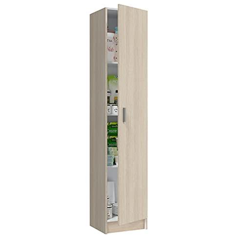 Habitdesign Armario Multiusos, 1 Puerta, Columna, Acabado en Color Roble, Medidas: 37 cm (Ancho) x 182 cm (Alto) x 37 cm (Fondo)