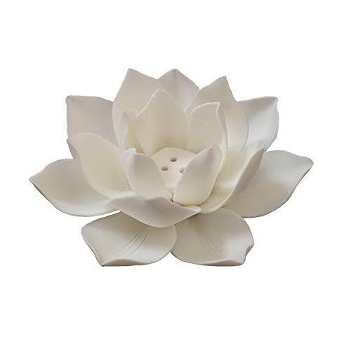 Lifestyle Ceramic Lotus Incense Burner Glossy Finish Flower Incense Burner Stick Holder (White)