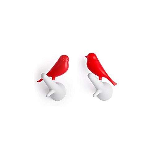 QUALY - Patère - Set de 2 patères Moineaux - Rouge