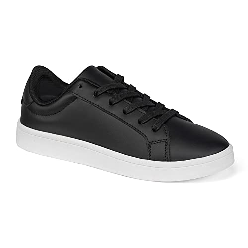YYZ Women's Classic Sneakers - Low Top Fashion Sneakers for Women PU Leather Lace Up Lightweight Comfortable Casual Shoes Black Size 8.5